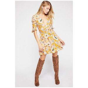 Free People Glow Up Minidress Golden-Yellow Floral
